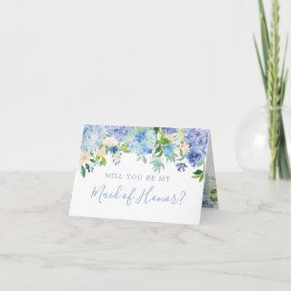 Blue Floral Will You Be My Maid of Honor Card