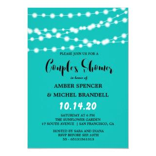 Blue Glowing String Light Couple's Shower Invitations