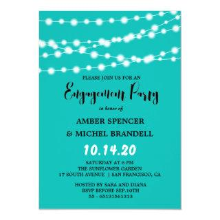 Blue Glowing String Light Engagement Party Invitation