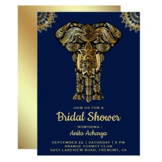 Blue Gold Elephant Indian Bridal Shower Invitation