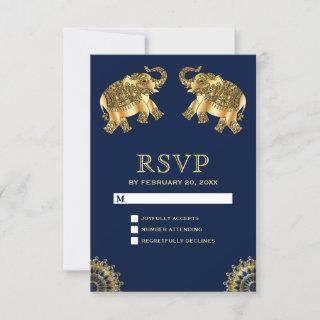 Blue Gold Ethnic Elephants Indian RSVP