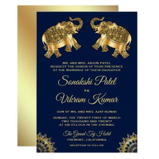 Blue Gold Ethnic Elephants Indian Wedding Invite
