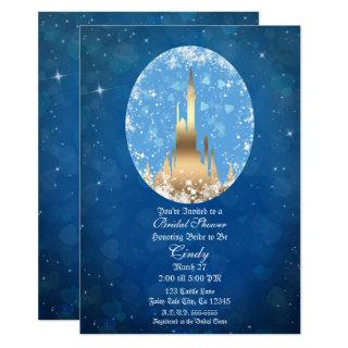 Blue Gold Fairy Tale Castle Sparkle Bridal Shower Invitation