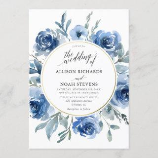 Blue gold floral watercolors wreath modern wedding Invitations