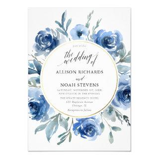 Blue gold floral watercolors wreath modern wedding invitation