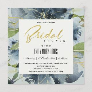 BLUE GOLD GREY FLORAL WATERCOLOR BRIDAL SHOWER INVITATION