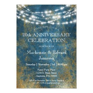 Blue Gold Lights Anniversary Party Invitations
