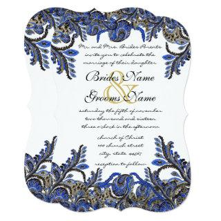 Blue & Gold Paisley Damask Wedding Invite