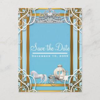 Blue Gold Princess Crown & Carriage Save the Date Announcement Postcard