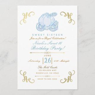 Blue & Gold Pumpkin Carriage Sweet 16 Party Invitations