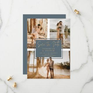 Blue gold save the date 3 photo grid collage