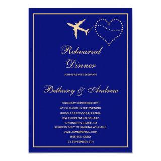 Blue Gold Travel Wedding Rehearsal Dinner Invitations