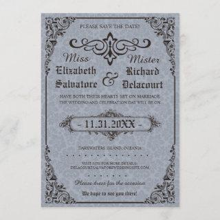 Blue Gothic Victorian Damask Save the Dates Save The Date