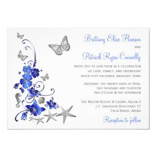 Blue, Gray, White Tropical Beach Wedding Invite