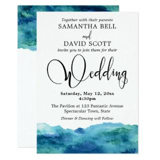 Blue Green Aqua Watercolor Modern Wedding 3b Invitations