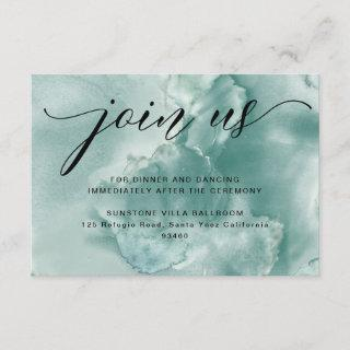Blue/Green Watercolor Wedding Reception Enclosure Card