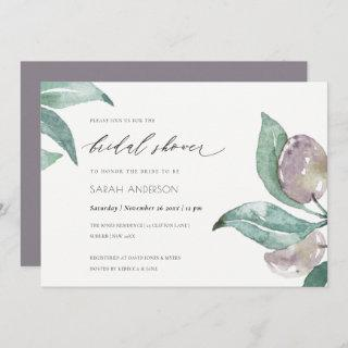 BLUE GREEN WATERCOLOUR FOLIAGE OLIVE BRIDAL SHOWER