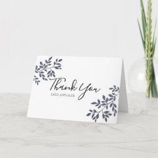 Blue Grey Botanical Glitter Wedding Thank You Card