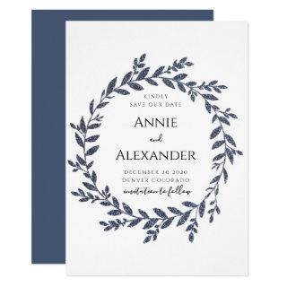 Blue Grey Glitter Effect Leaves Save The Date Invitation