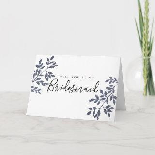 Blue Grey Glitter Will You Be My Bridesmaid Card