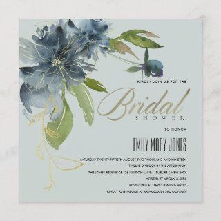 BLUE GREY GOLD FLORAL WATERCOLOR BRIDAL SHOWER Invitations