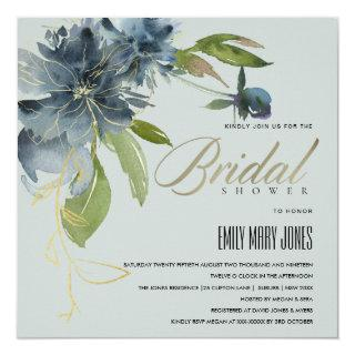 BLUE GREY GOLD FLORAL WATERCOLOR BRIDAL SHOWER INVITATION