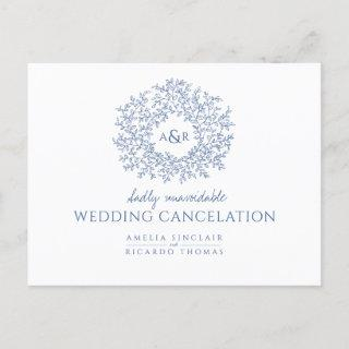Blue hand drawn leaf monogram wedding cancelation announcement postcard