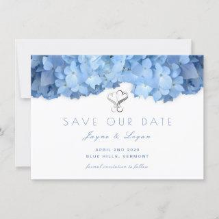 Blue Heaven Floral Save Our Date Hearts Card