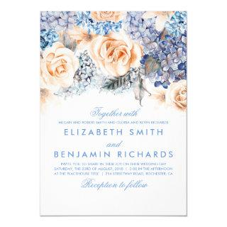 Blue Hydrangea and Peach Flowers - Floral Wedding Invitations