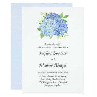 Blue Hydrangea Leaves Floral Watercolor Wedding Invitation