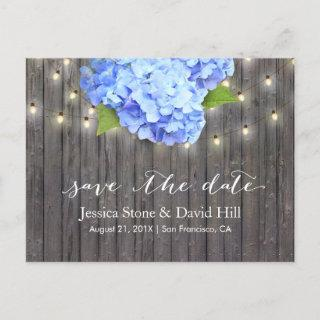 Blue Hydrangea & String Lights Wood Save the Date Announcement Postcard