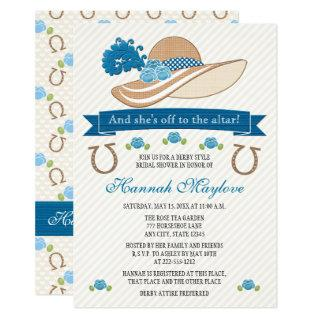 Blue Kentucky Derby Themed Hat Bridal Shower Invitations