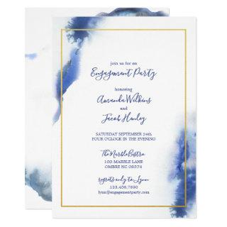 Blue Marble Ombre Gold Wedding Engagement Party Invitation