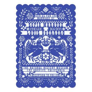 Blue Mexican Fantail Doves Papel Picado Wedding Invitations