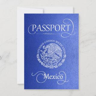 Blue Mexico Passport Save the Date Card