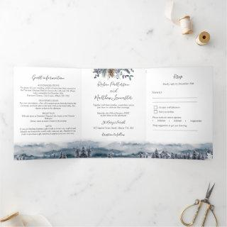 Blue Mountains and Forest, Wedding with RSVP Tri-Fold Invitation