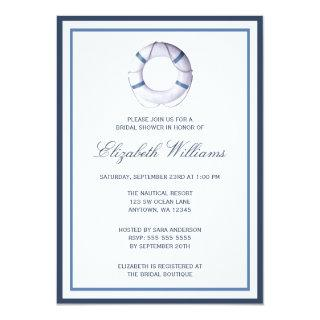 Blue Nautical Life Ring Bridal Shower Invitation