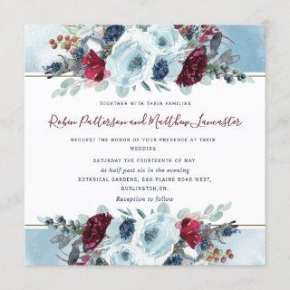 Blue, Navy Burgundy Red and Purple Floral Wedding Invitation