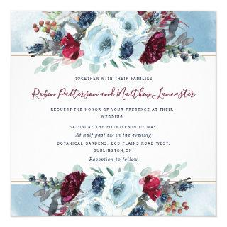 Blue, Navy Burgundy Red and Purple Floral Wedding Invitations