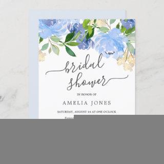 Blue Navy Watercolor Floral Bridal Shower Invitations