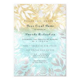 Blue Ocean Gold Glitter Ombre Floral Sparkly White Invitations
