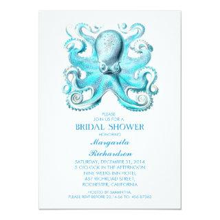 blue octopus nautical beach bridal shower invitation