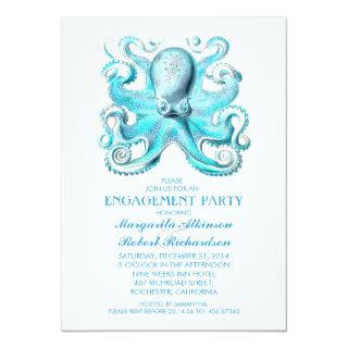 blue octopus nautical beach engagement party Invitations