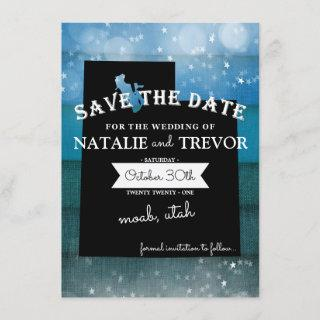 Blue Ombre Utah Wedding Save the Date Invitation