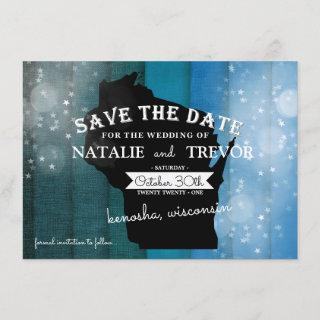 Blue Ombre Wisconsin Wedding Save the Date