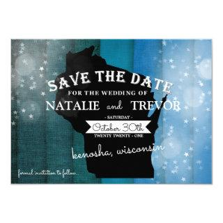 Blue Ombre Wisconsin Wedding Save the Date Invitations