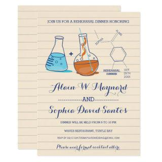 Blue & Orange Chemistry Rehearsal Dinner Invites
