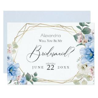 Blue Peony Flowers Will You Be My Bridesmaid Invitations