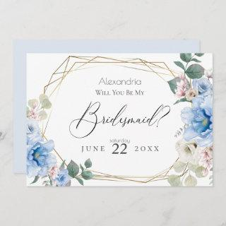 Blue Peony Flowers Will You Be My Bridesmaid Invitation