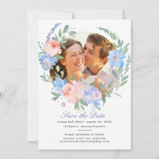 Blue Pink Floral Wreath Wedding Save the Date